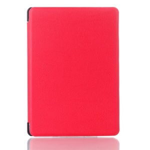 Litchi Texture Magnetic Leather Folio Cover for Amazon Kindle 4 4th Generation - Red
