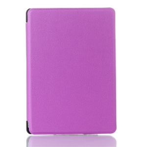 Litchi Texture Magnetic Leather Case Cover for Amazon Kindle 4 4th Generation - Purple