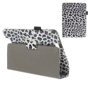 Fashion Leopard Leather Magnetic Case w/ Stand for Amazon Kindle Fire HDX 7 7-inch
