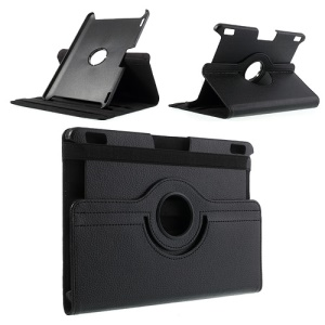 Black Litchi Leather Rotary Stand Cover for Amazon Kindle Fire HDX 8.9-inch w/ Elastic Strap
