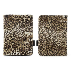 Brown Leopard Flip Leather Magnetic Case for Amazon Kindle Paperwhite