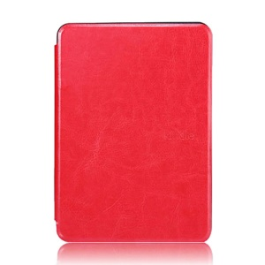 Crazy Horse Grain Smart Leather Flip Cover for Amazon Kindle Paperwhite - Red