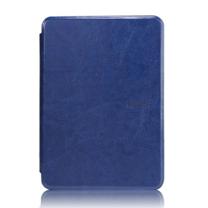 Crazy Horse Grain Smart Leather Cover for Amazon Kindle Paperwhite - Dark Blue