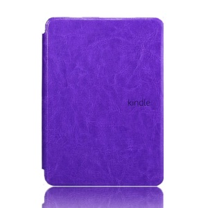 Crazy Horse Grain Smart Leather Shell for Amazon Kindle Paperwhite - Purple