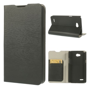 Black for LG L80 Dual Tree Bark Texture Leather Flip Case w/ Card Slots & Stand