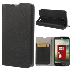 Tree Bark Leather Card Slot Stand Case for LG L90 Dual SIM D410 - Black