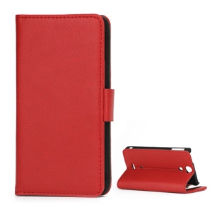 Lychee Grain Folio Wallet Leather Cover with Stand for Sony Xperia V LT25i - Red