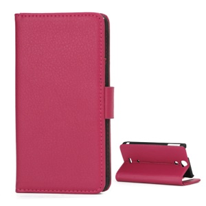 Lychee Grain Folio Wallet Leather Cover with Stand for Sony Xperia V LT25i - Rose