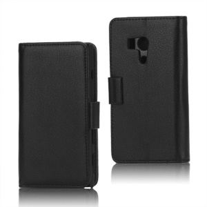 Litchi Leather Wallet Stand Cover Case for Sony Xperia acro S LT26w - Black