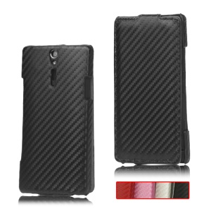 Carbon Fiber Leather Case Cover for Sony Xperia S LT26i LT26a / Nozomi