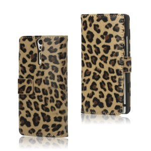 Leopard Leather Wallet  Case for Sony Xperia S LT26i LT26a / Nozomi