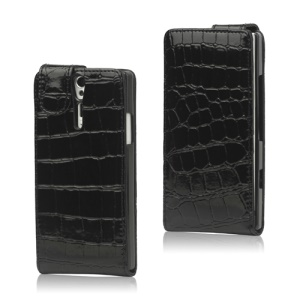 Crocodile Leather Flip Case for Sony Xperia S LT26i LT26a / Nozomi - Black