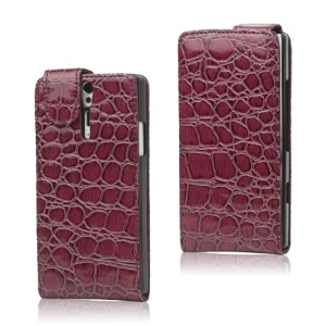 Crocodile Leather Case Cover for Sony Xperia S LT26i LT26a / Nozomi - Purple