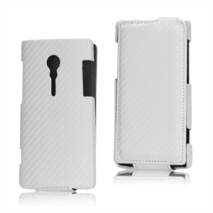 Carbon Fiber Vertical Leather Case for Sony Xperia Ion LT28i LT28at - White