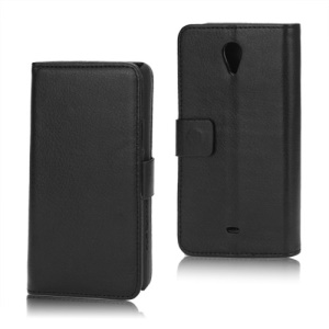 Litchi Leather Wallet Stand Case for Sony Xperia T LT30p LT30i Mint - Black