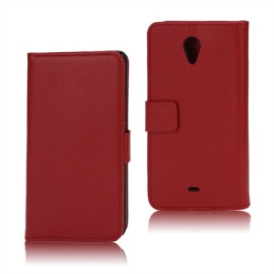 Litchi Leather Wallet Stand Case for Sony Xperia T LT30p LT30i Mint - Red