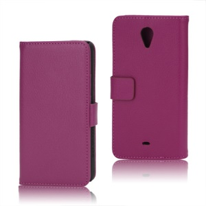 Litchi Leather Wallet Stand Case for Sony Xperia T LT30p LT30i Mint - Rose