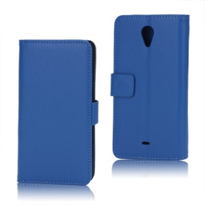 Litchi Leather Wallet Stand Case for Sony Xperia T LT30p LT30i Mint - Blue
