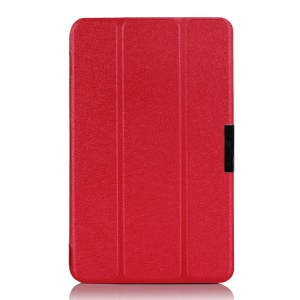 Tri-fold Silk Texture Leather Case w/ Stand for ASUS VivoTab Note 8 M80TA - Red