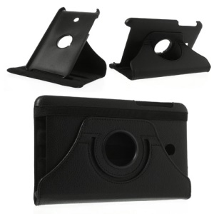 Black 360 Degree Rotary Litchi Leather Stand Case for ASUS MeMO Pad HD7 ME175KG ME7510KG