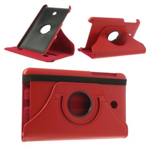 Red 360 Degree Rotary Litchi Leather Stand Case for ASUS MeMO Pad HD7 ME175KG ME7510KG