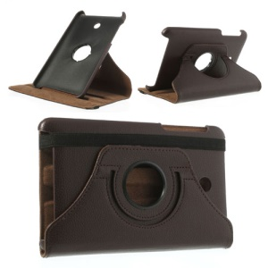 Coffee Litchi Leather Shell for ASUS MeMO Pad HD7 ME175KG ME7510KG w/ 360 Degree Rotary Stand