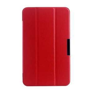 Red Tri-fold Crazy Horse Texture Leather Magnetic Shell for Asus MeMO Pad 7 ME176C