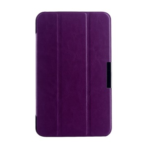 Purple Tri-fold Crazy Horse Texture Leather Shell for Asus MeMO Pad 7 ME176C