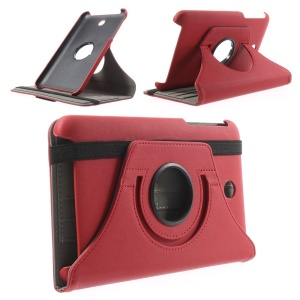Red Twill Cloth Texture Leather Cover w/ 360 Degree Rotary Stand for Asus MeMO Pad 7 ME176C