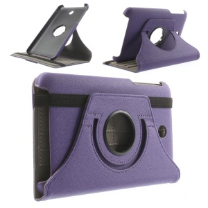 Purple Twill Cloth Texture Leather Case Accessory w/ 360 Degree Rotary Stand for Asus MeMO Pad 7 ME176C