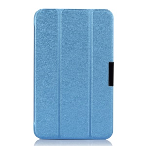 Tri-fold Silk Texture Flip Leather Case w/ Stand for ASUS MeMO Pad 8 ME180A - Blue