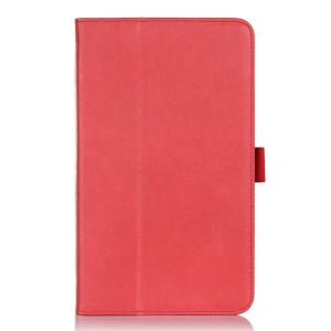 Leather Card Holder Stand Shell w/ Elastic Band for ASUS MeMO Pad 8 ME181C - Red