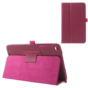 For ASUS MeMO Pad 8 ME181C Folio Stand Litchi Texture PU Leather Protective Case - Rose
