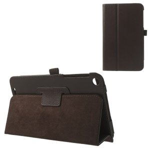Litchi Texture Folio Stand PU Leather Shell Case for ASUS MeMO Pad 8 ME181C - Coffee