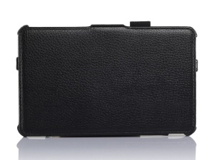 Black Litchi Grain Protective Leather Stand Case w/ Hand Strap for ASUS Fonepad 7 ME372CG