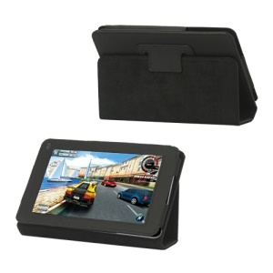 "Folio PU Leather Stand Case for Huawei MediaPad 7.0"" - Black"