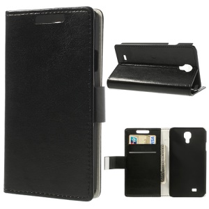 Black Crazy Horse Magnetic Wallet Leather Stand Case for Samsung Galaxy J SGH-N075T