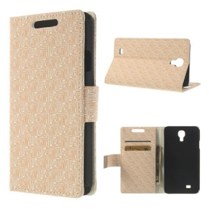 Beige Maze Design for Samsung Galaxy J N075T Magnetic Leather Wallet Cover w/ Stand