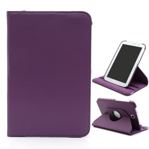 Rotary Litchi Samsung Galaxy Note 8.0 N5100 N5110 Leather Stand Case w/ Elastic Strap and Sleep / Wake-up Function - Purple