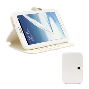 Crazy Horse Folio Leather Magnetic Case Stand for Samsung Galaxy Note 8.0 N5100 N5110 - White