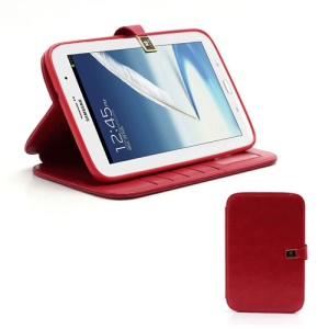 Crazy Horse Folio Leather Magnetic Case Stand for Samsung Galaxy Note 8.0 N5100 N5110 - Red