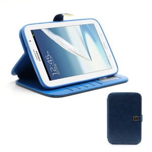 Crazy Horse Folio Leather Magnetic Case Stand for Samsung Galaxy Note 8.0 N5100 N5110 - Dark Blue