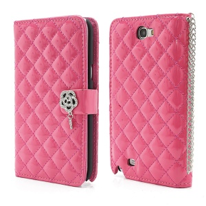 Rhinestone Flower Rhombus Leather Magnetic Wallet Case for Samsung Galaxy Note 2 / II N7100 - Rose