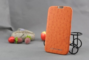 Orange Mercury Ostrich Grain Leather For Samsung Galaxy Note 2 / II N7100 Card Slot Cases