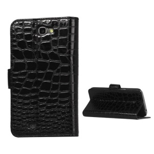 Crocodile Leather Wallet Case Cover for Samsung Galaxy Note II N7100 - Black