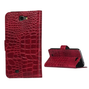 Crocodile Leather Wallet Case Cover for Samsung Galaxy Note II N7100 - Red