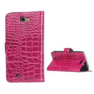 Crocodile Leather Wallet Case Cover for Samsung Galaxy Note II N7100 - Rose