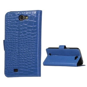 Crocodile Leather Wallet Case Cover for Samsung Galaxy Note II N7100 - Blue