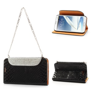 Black for Samsung Galaxy Note 2 N7100 Snake Leather Rhinestone Handbag Case