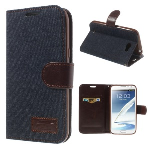 Jeans Cloth Flip Leather Case Cover for Samsung Galaxy Note II N7100 - Black
